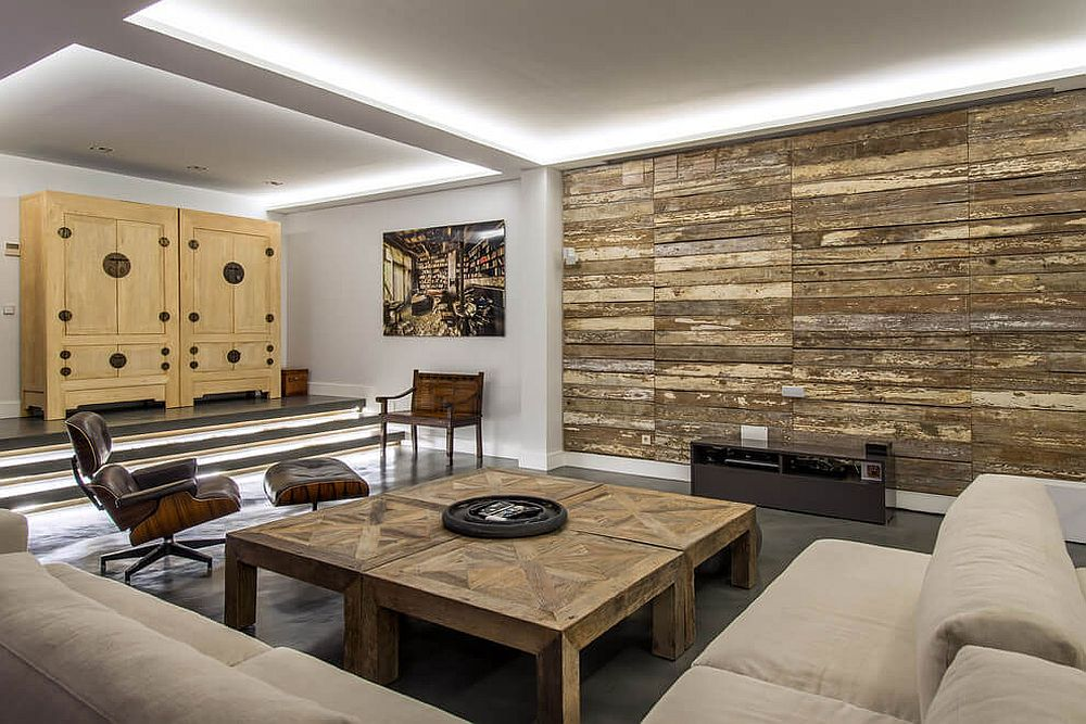 Warmth and texture 10 unique living room wood accent walls - Family room wall ideas ...