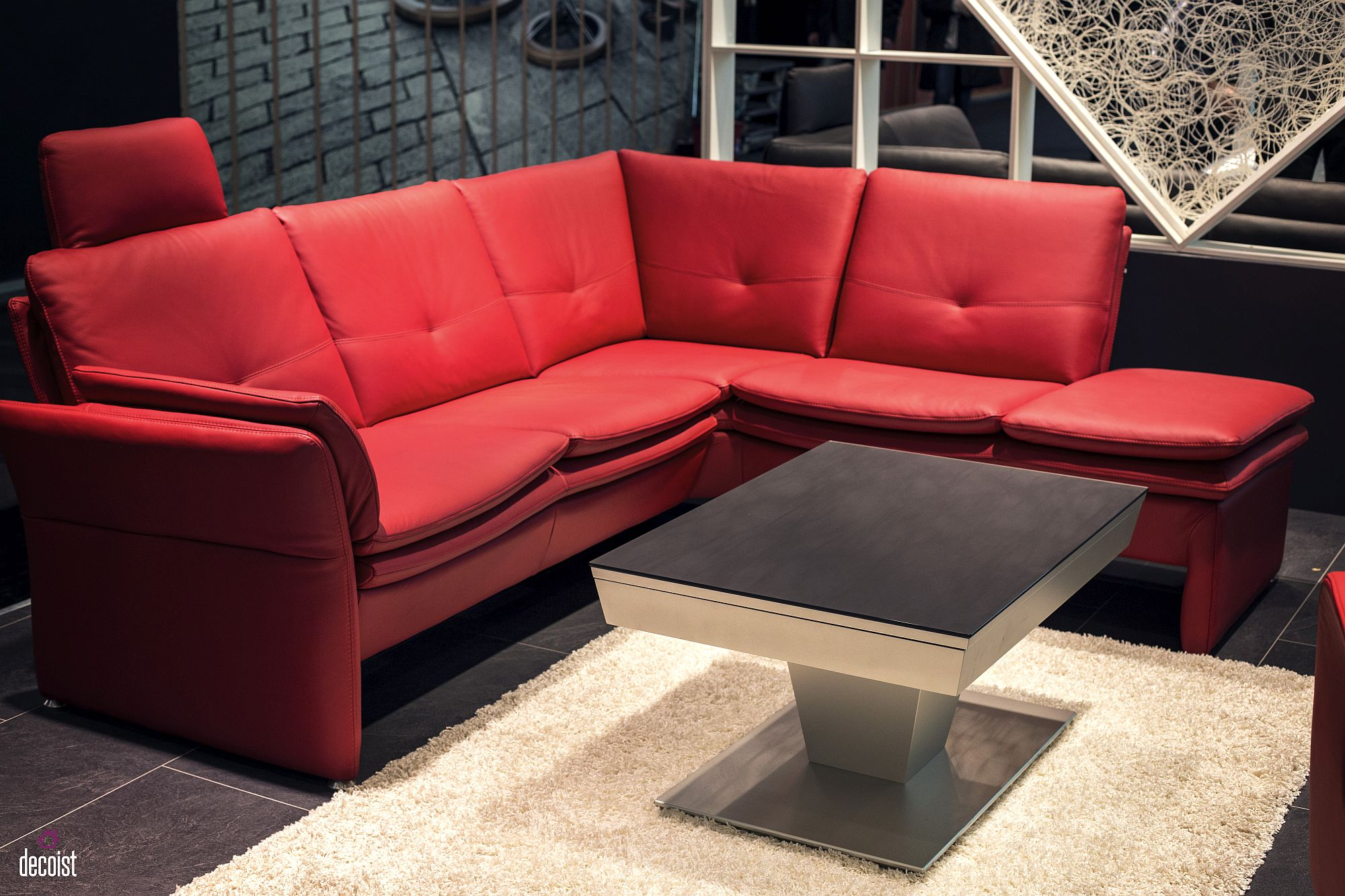 Refined and striking sectional in red