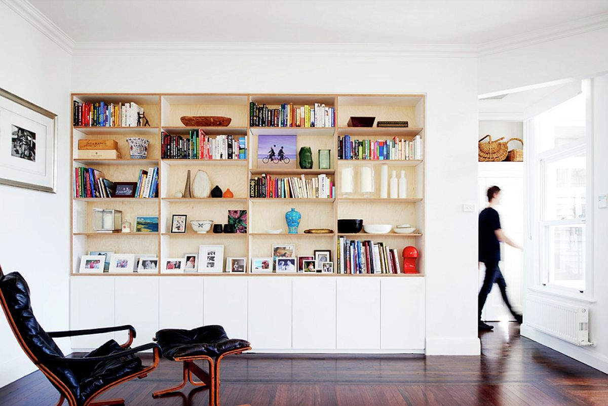 Relaxing reading room with ample shelf space