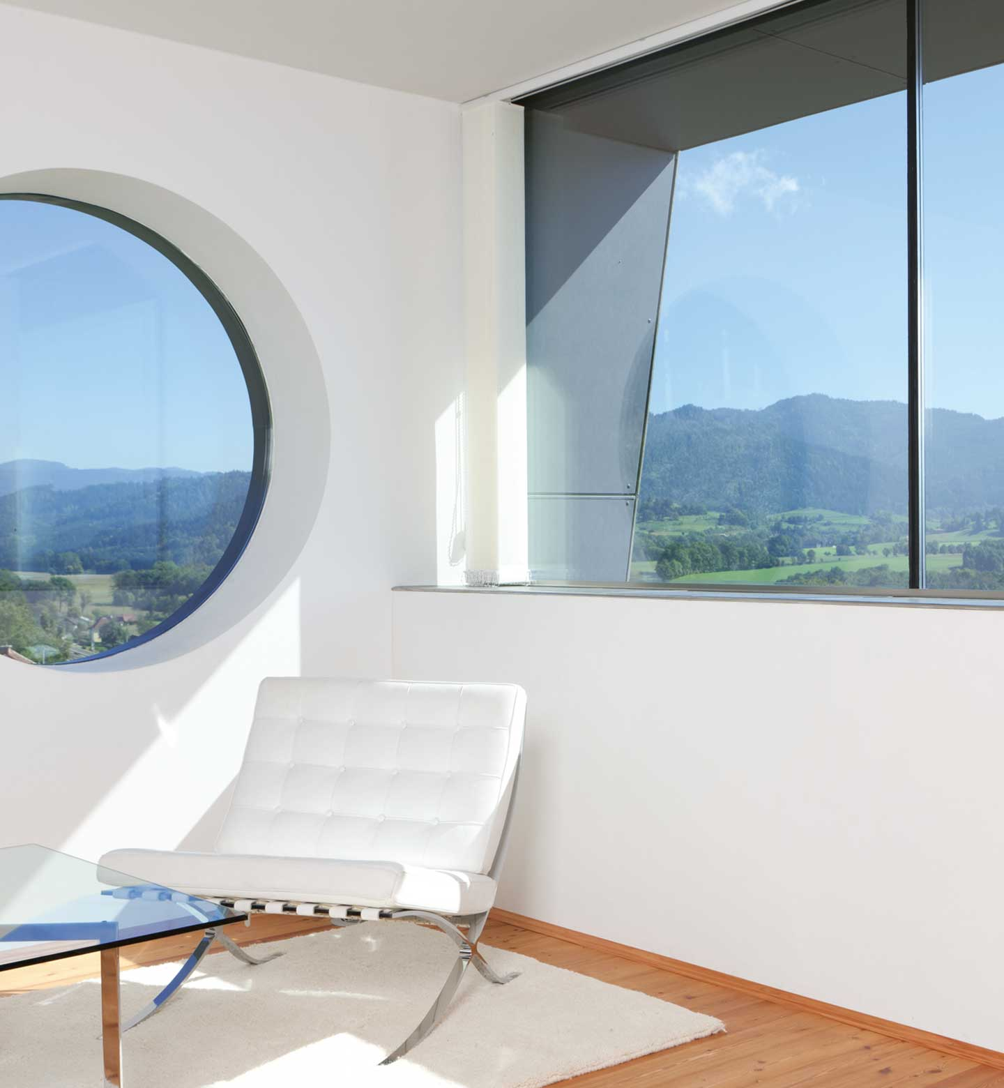 Round window in a serene living room