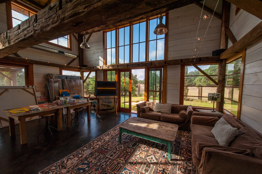 Rustic art studio with a strong farmhouse ambiance