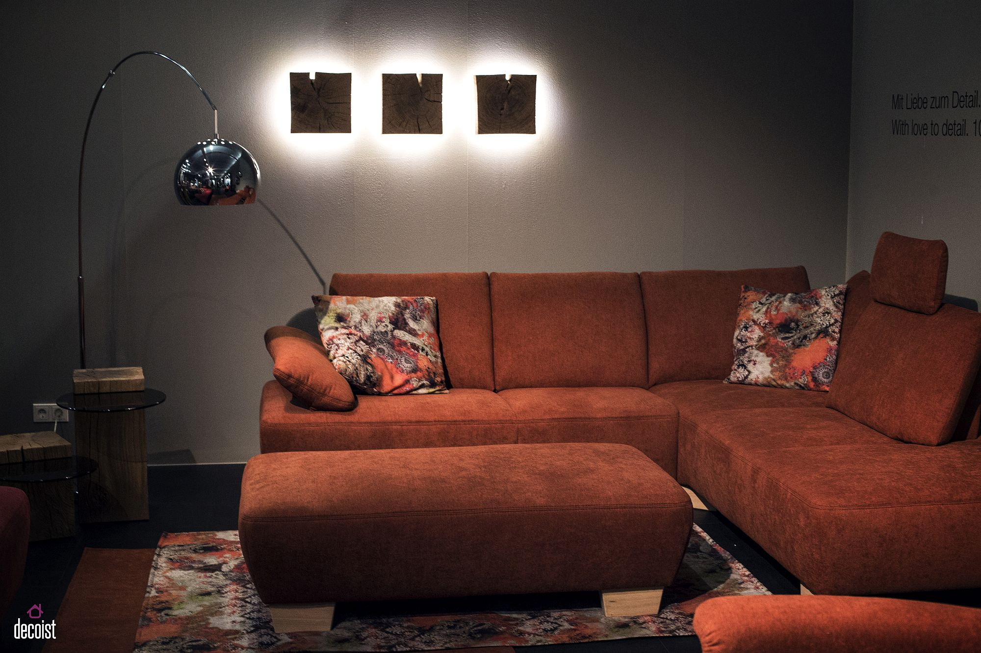 Sectional utilizes the corner in the small living room