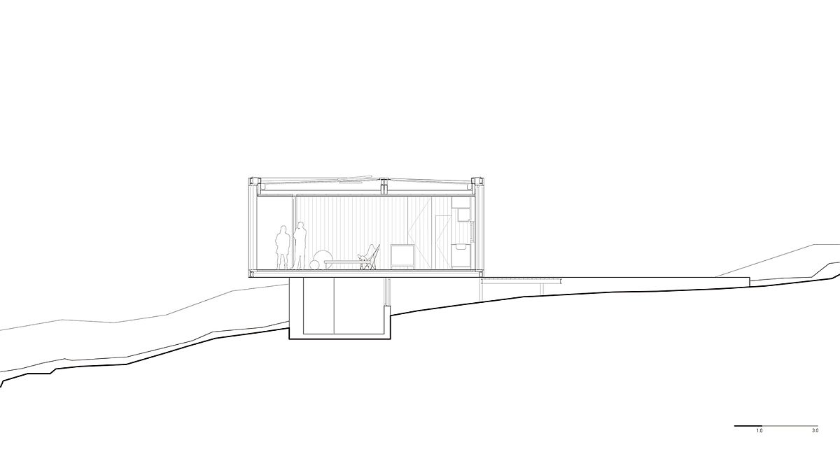 Sectional view of prefab shows its minimal impact on site