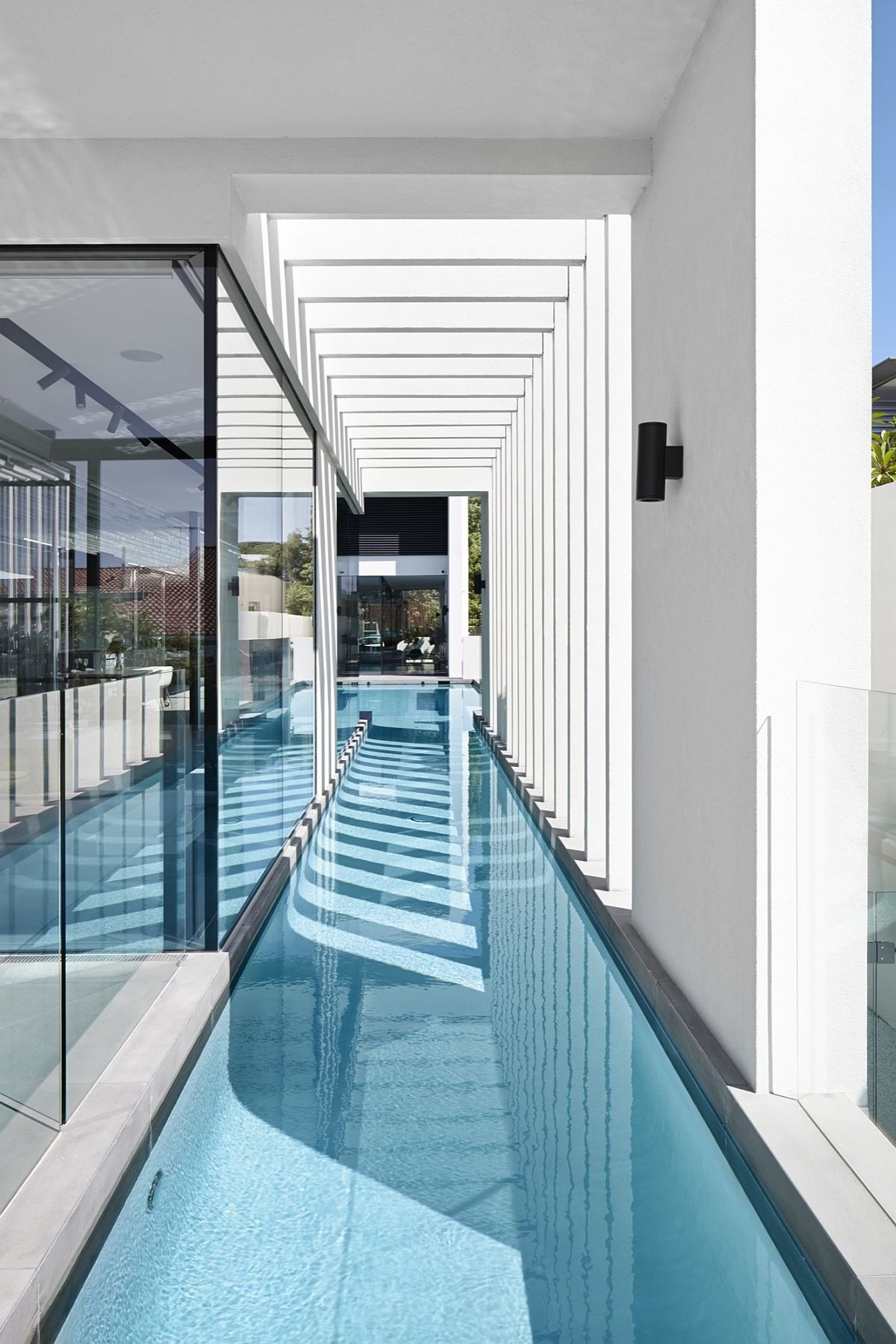 Sheltered lap pool of the contemporary home