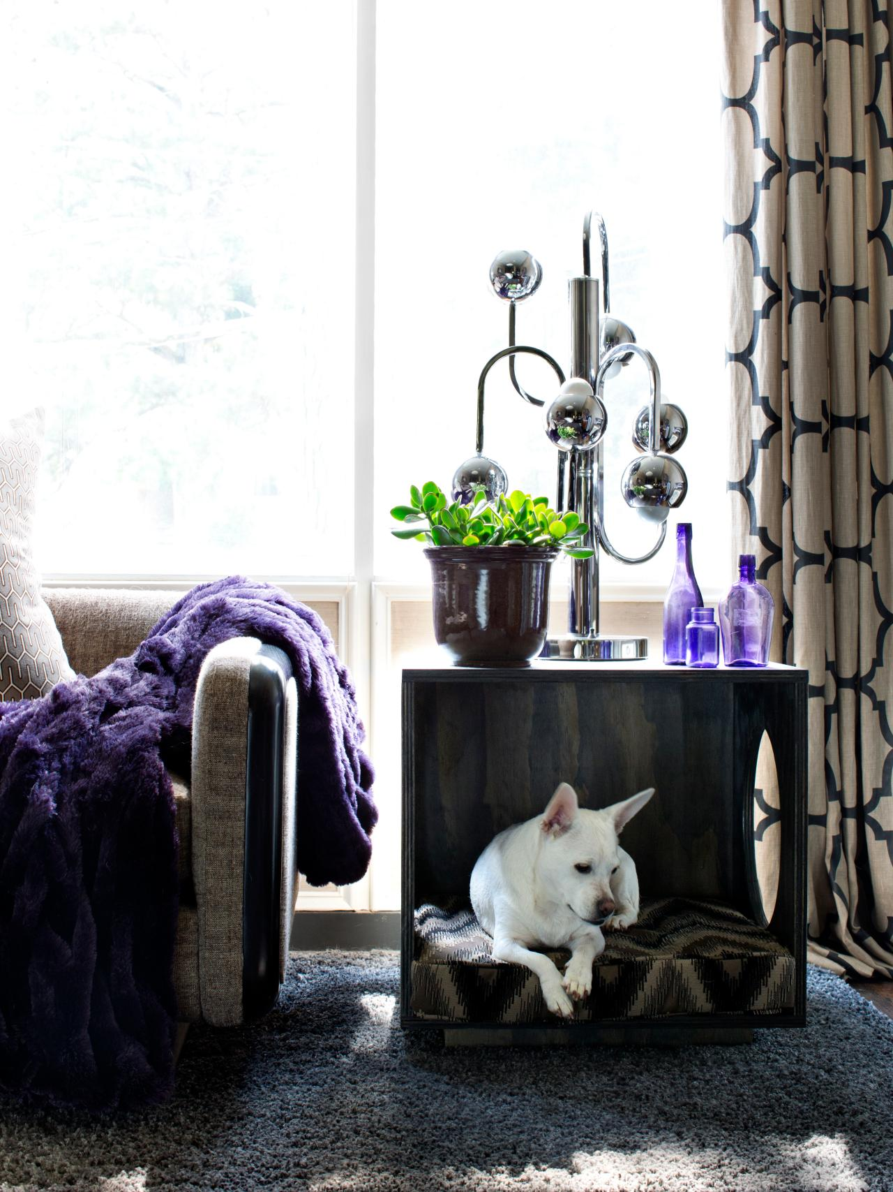 Side table that doubles as a dog nook