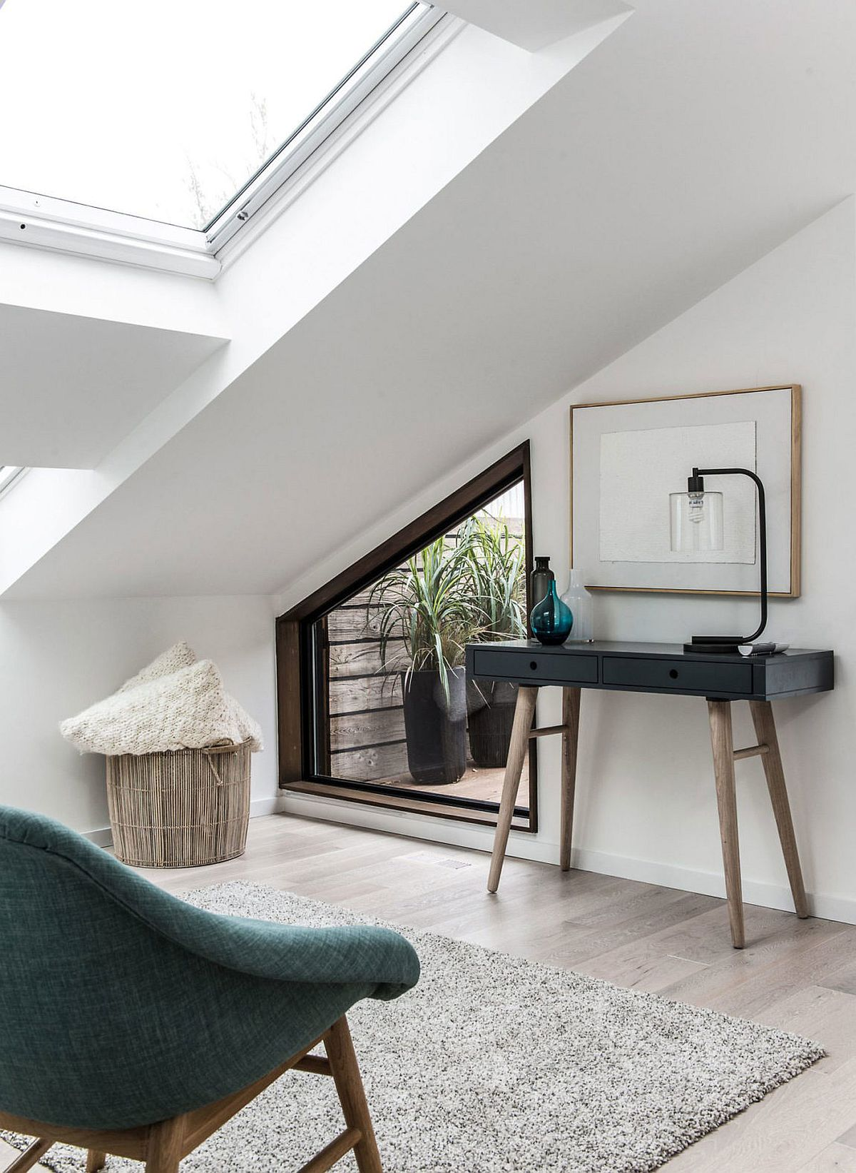 Slanted bedroom ceiling with skylight