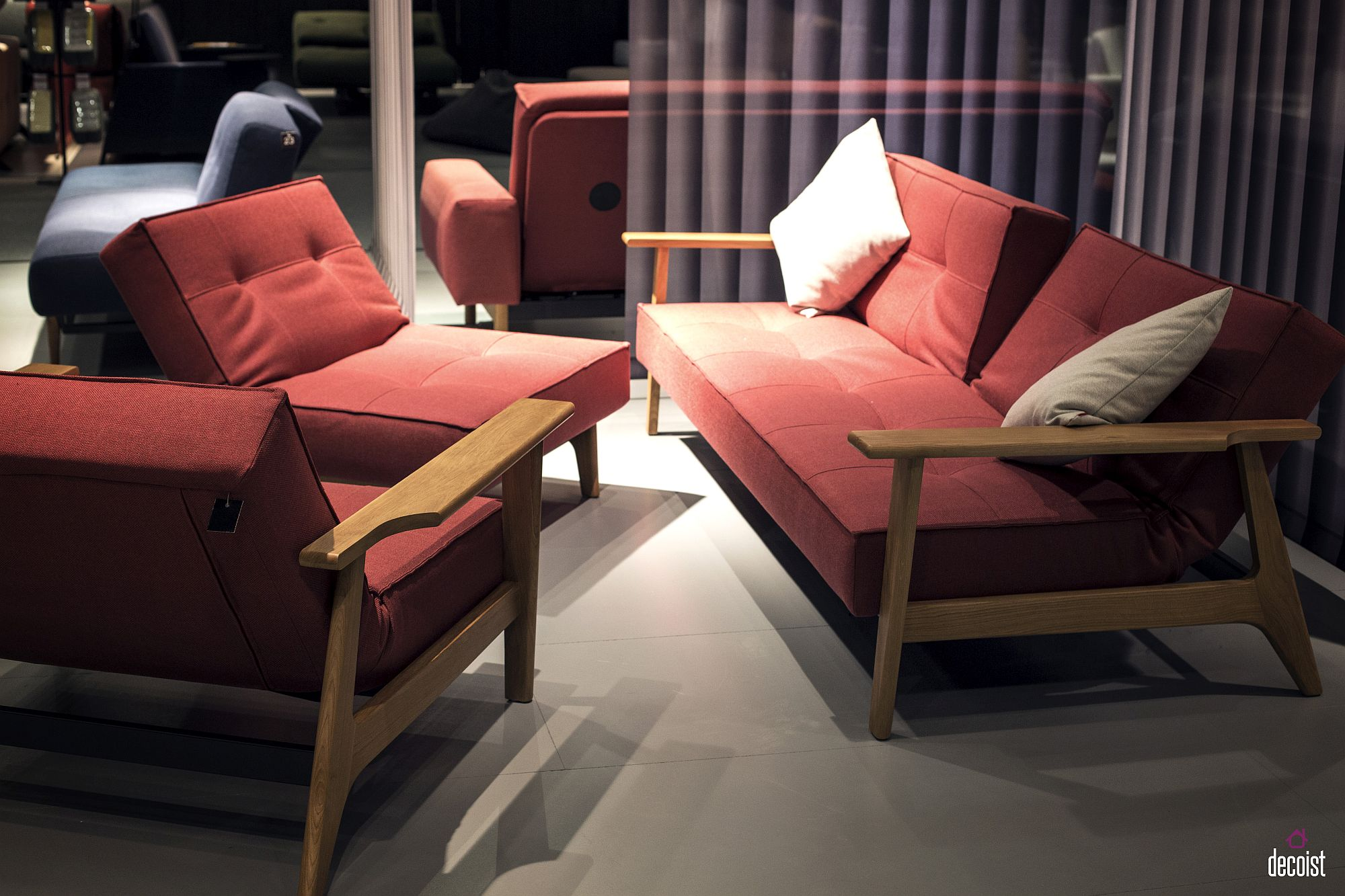 Smart nordic design allows the trendy couch to fit into contemporary space