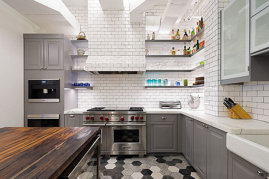 Striking hexagonal tiles add pattern to the kitchen without disturbing the color scheme