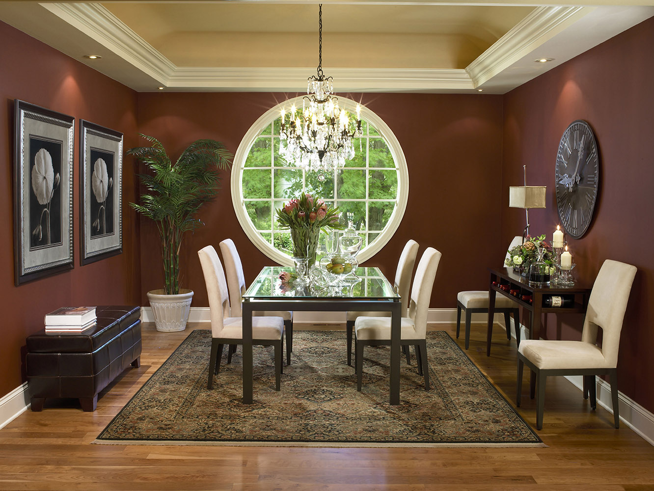 Unique and compelling round windows for every room for Dining room window designs