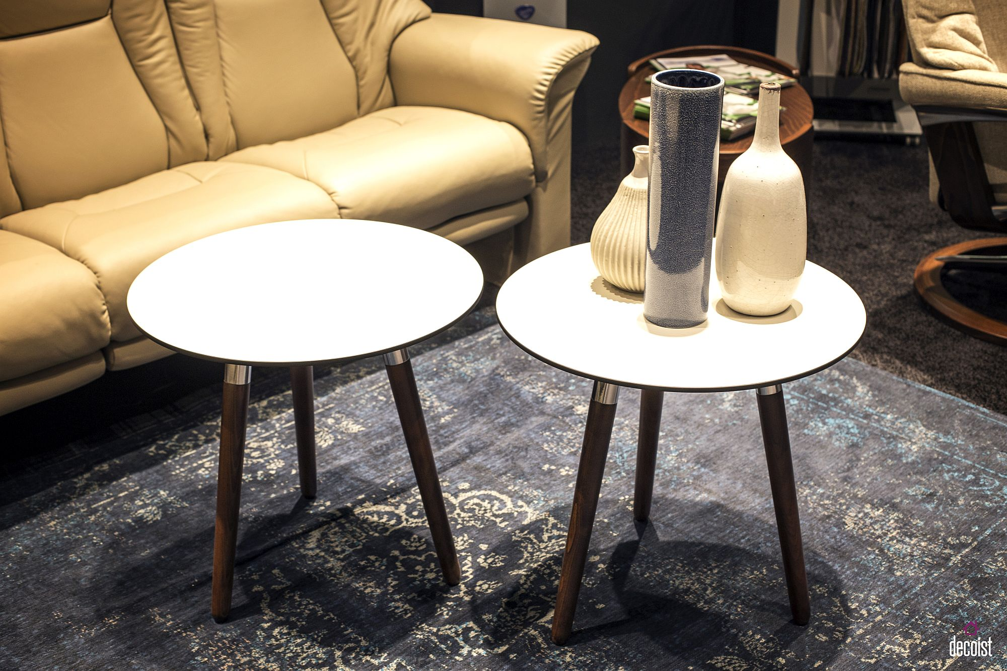 Unassuming end tables can be combined to create a cool coffee table