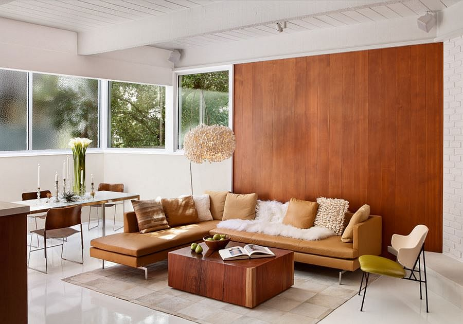 Vertical redwood panels add class to the living room
