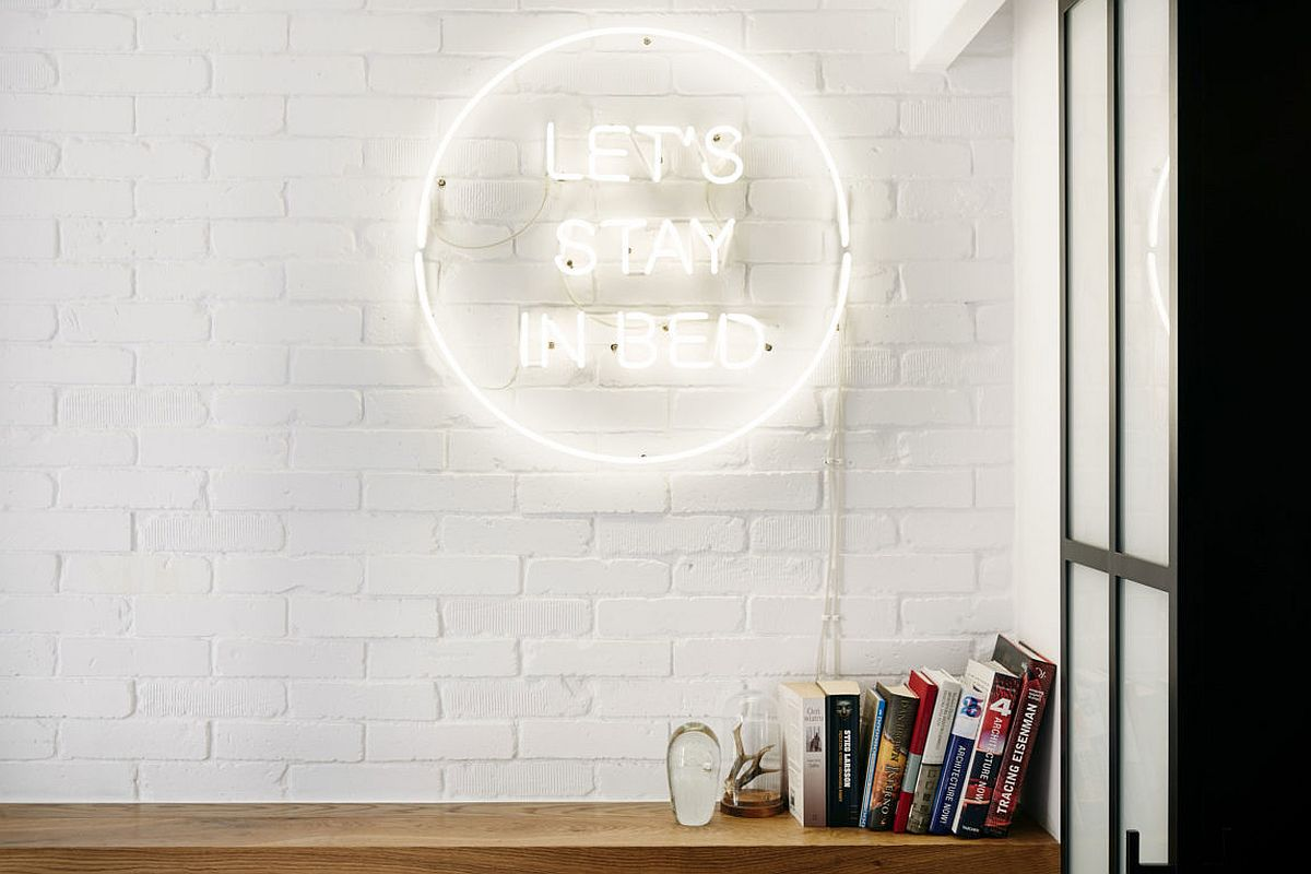 Vintage illuminated sign for the bedroom in white