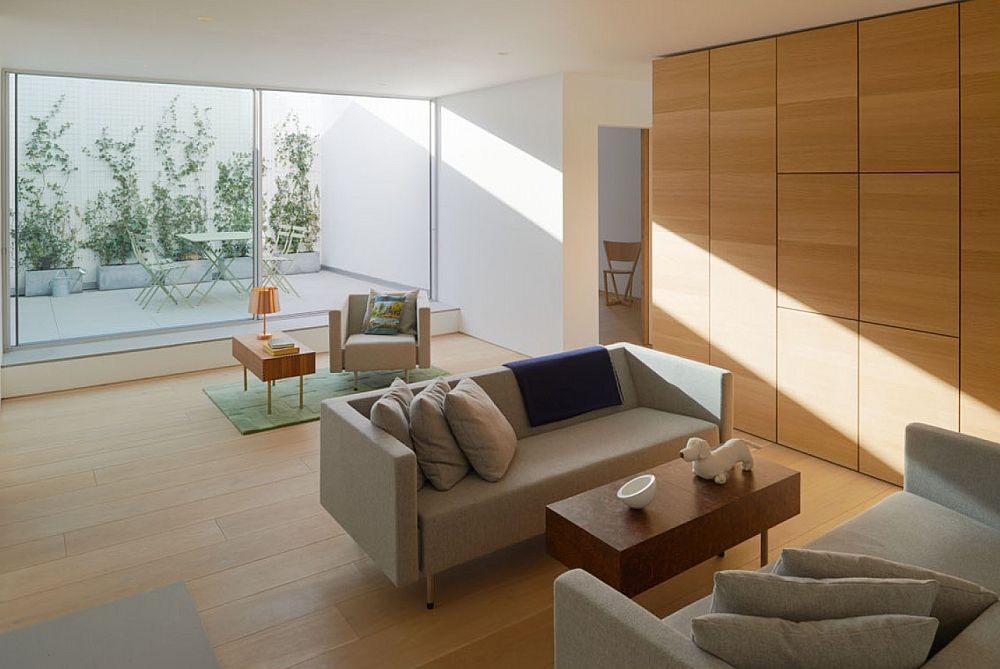 Wall of wood also offers additional storage space
