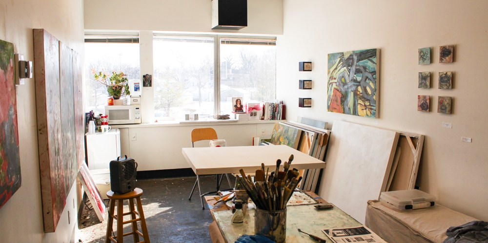 home art studio with white walls