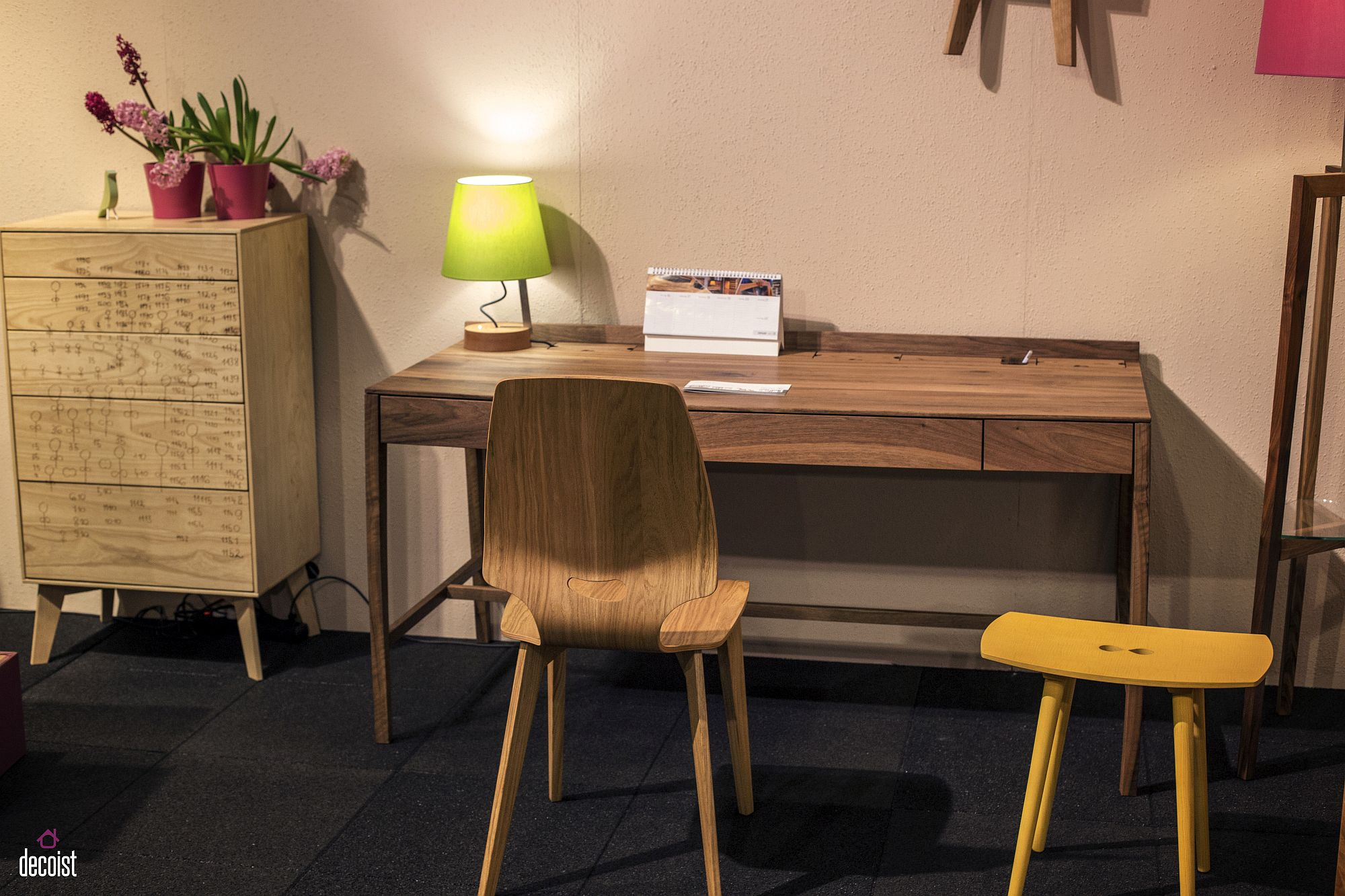Wooden chair matching with the tone of the workdesk