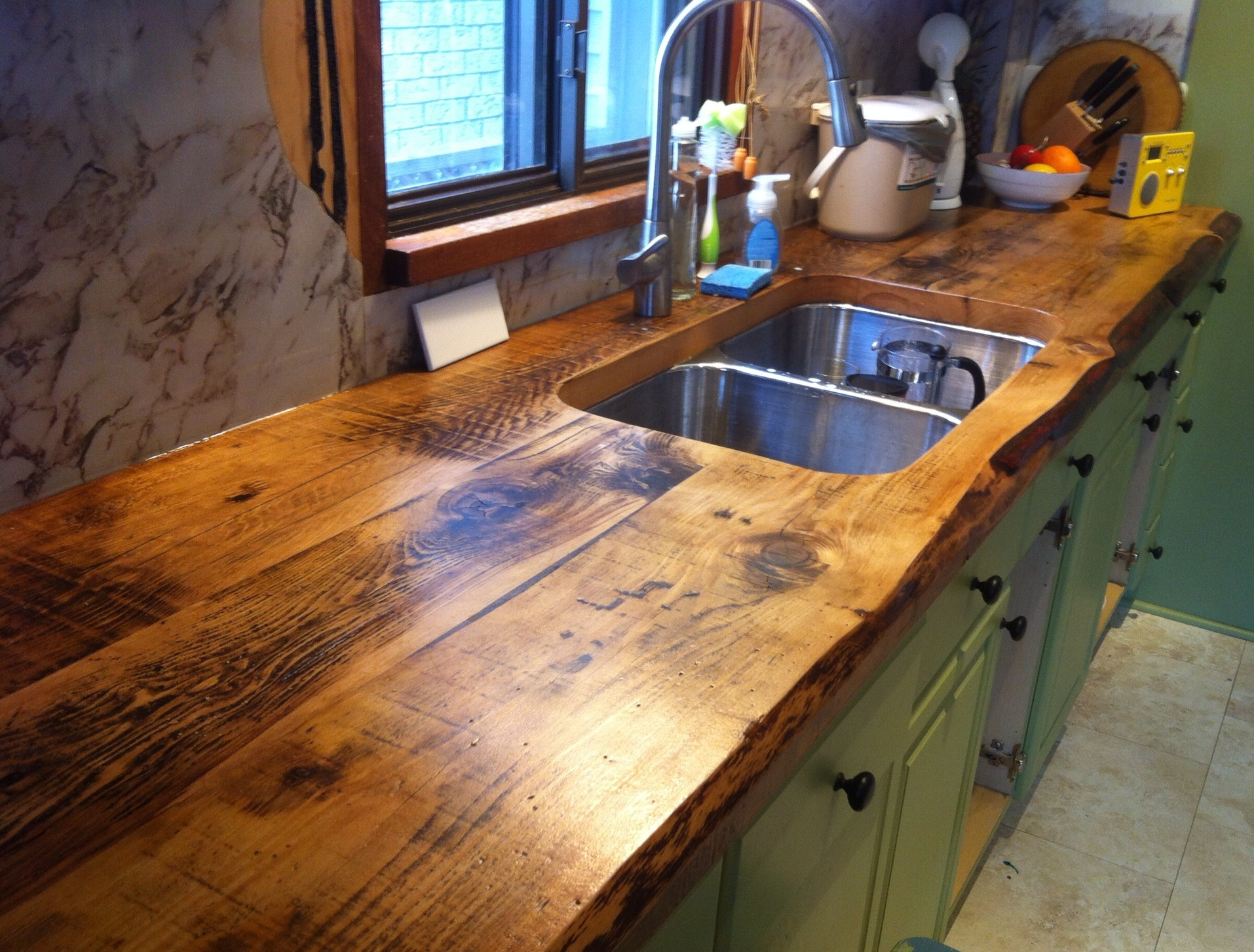 Wooden-countertop-with-a-rough-rustic-style-