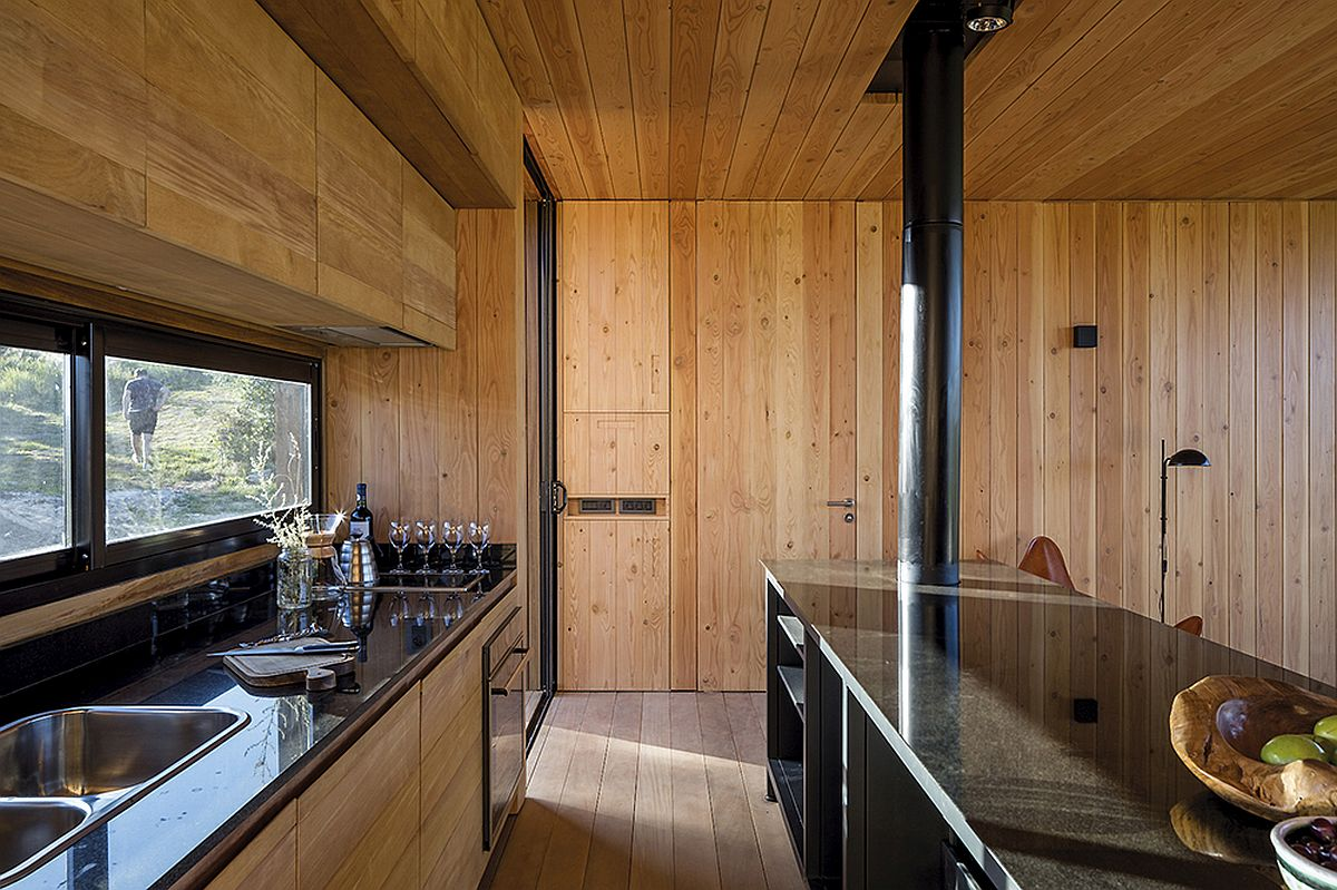 Wooden panels give the interior cozy, modern look