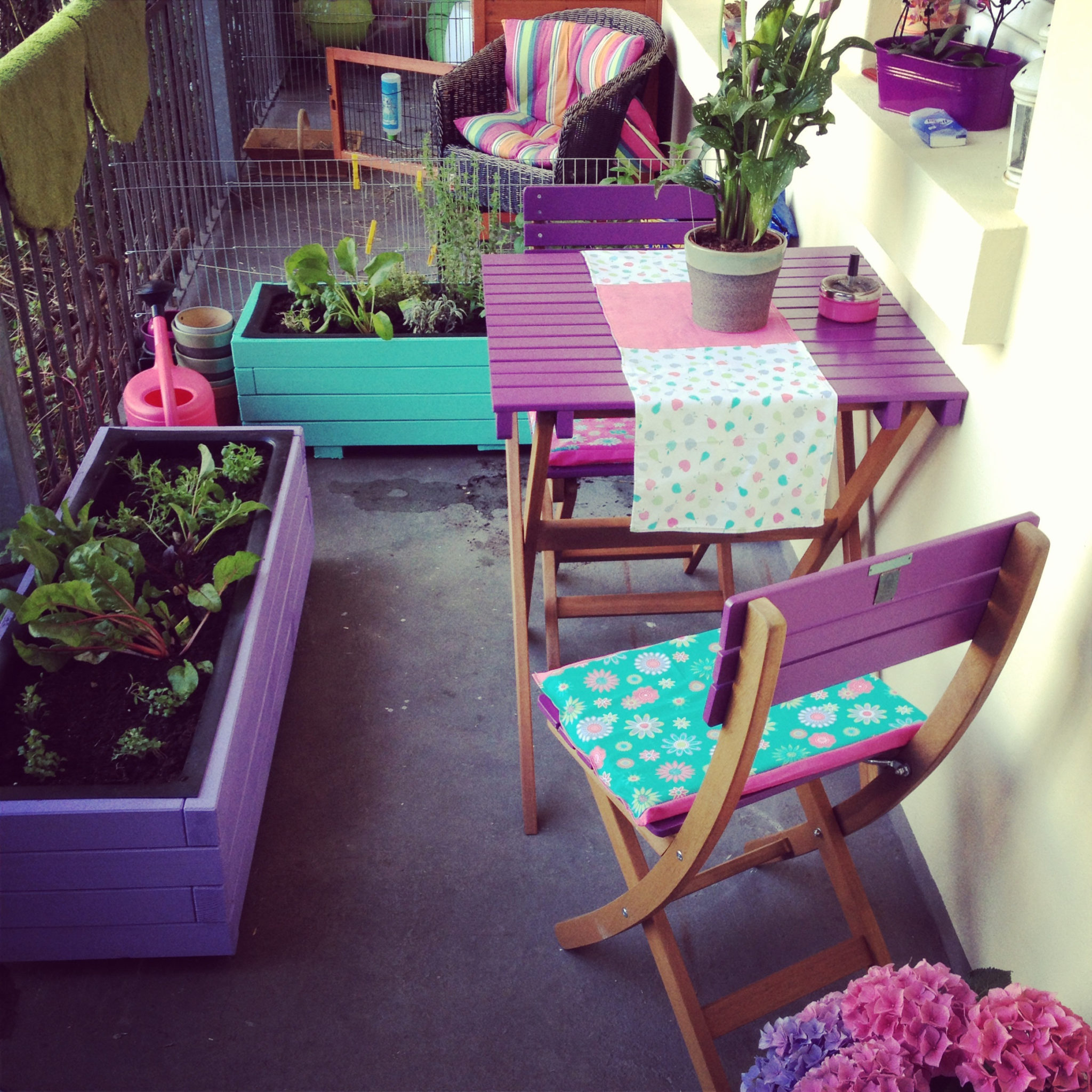 A charming tiny purple balcony