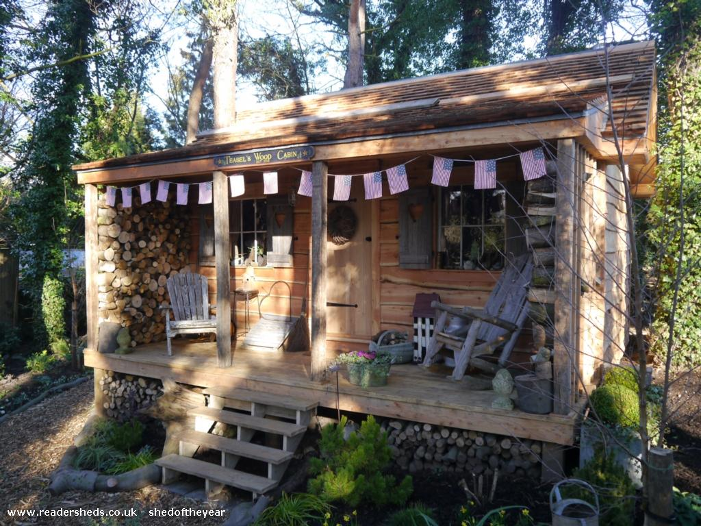 A tiny wood cabin with conservative decor