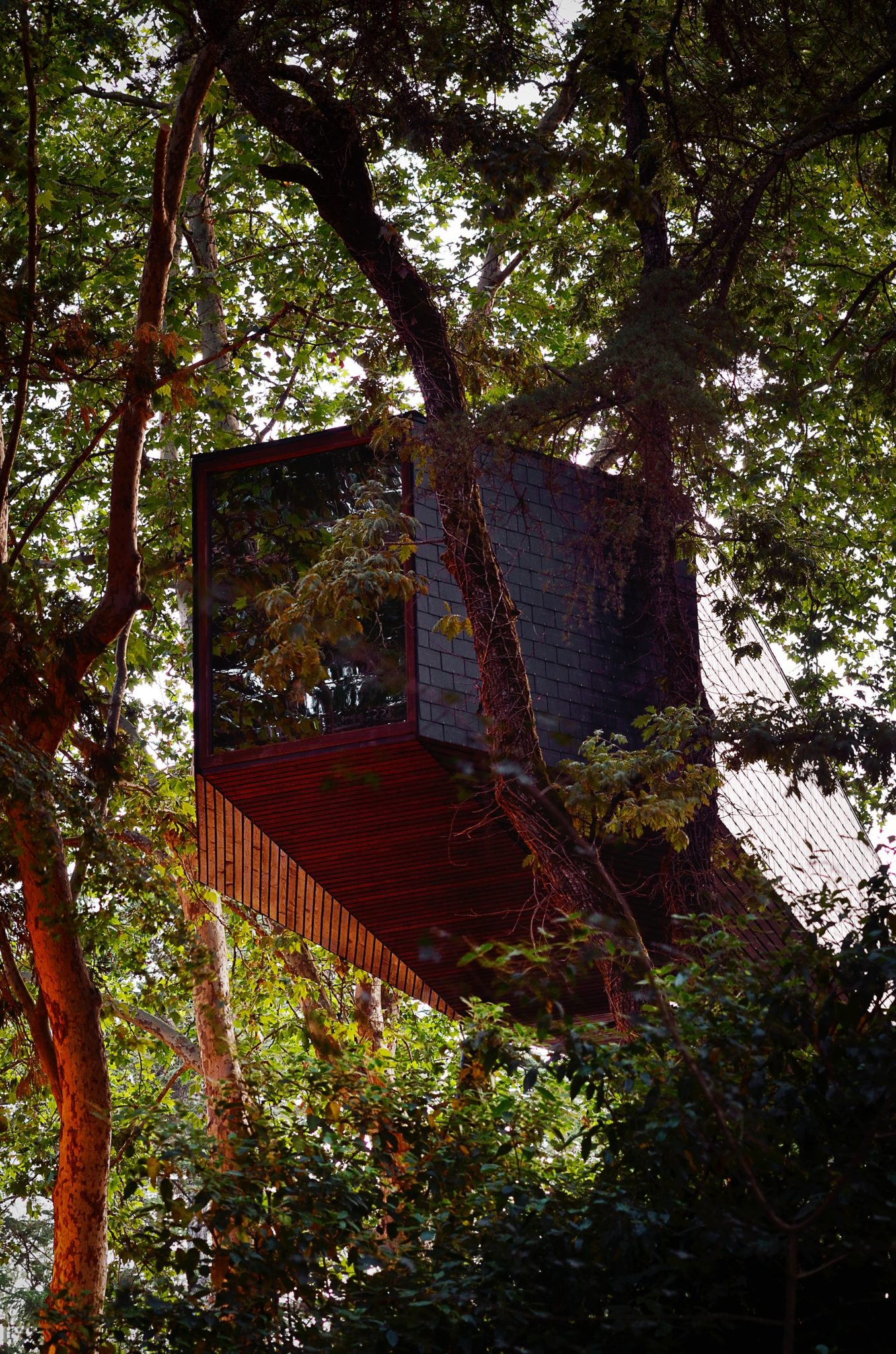 A wooden treehouse with a geometric design