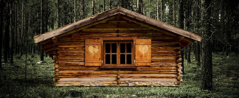 Adorable tiny cabin with special window shutters