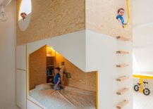 Bespoke kids bed design with twin beds and a loft playspace 217x155 Bespoke Brilliance: Twin Bed Wall in Kids' Room with Loft Play Zone
