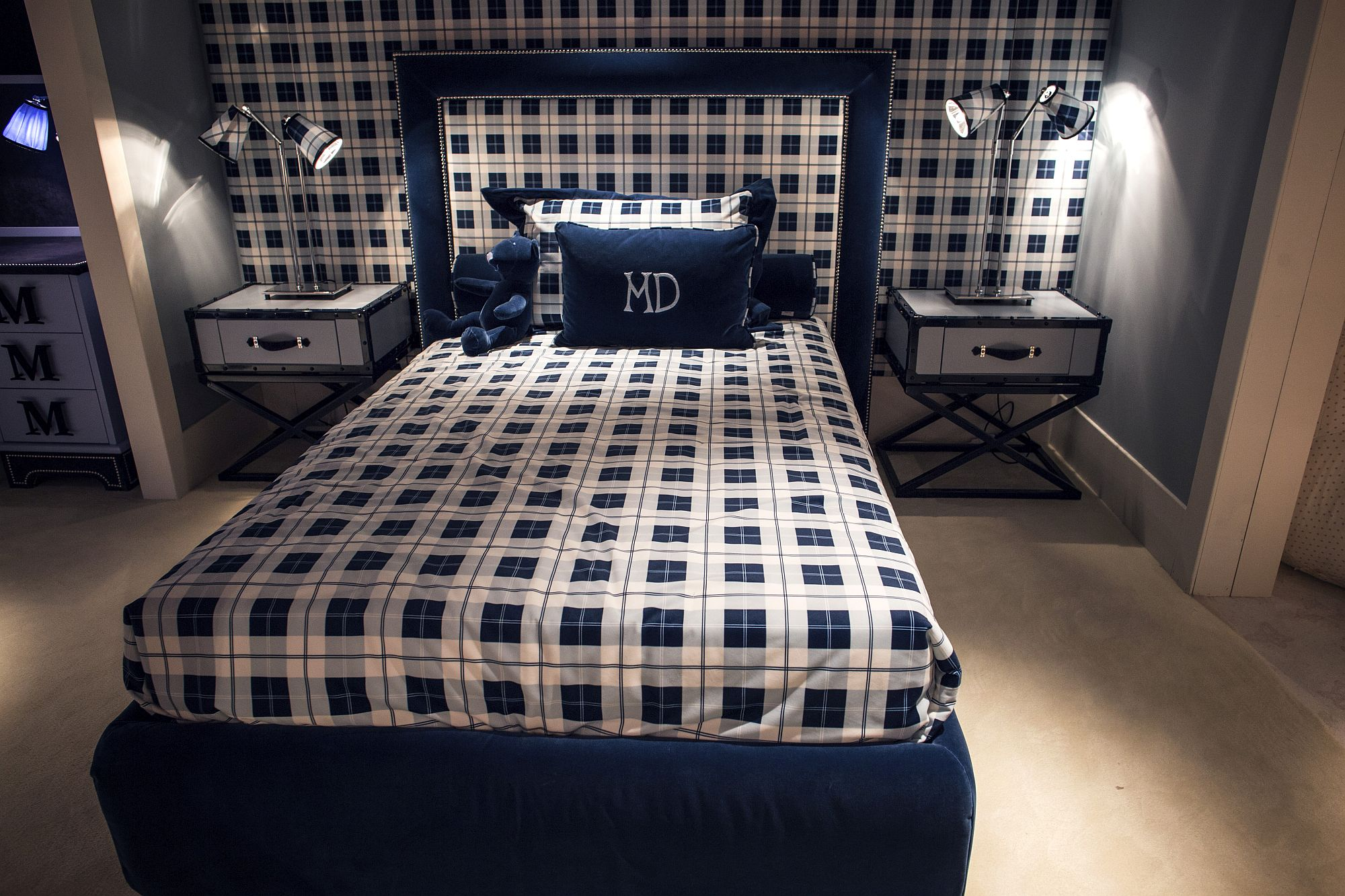 Blue and white tween bedroom with simple pattern and matching nightstands
