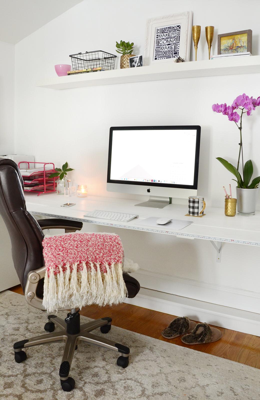 Bright office full of little golden elements