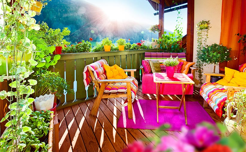 Cheerful tiny balcony decorated with uplifting colors