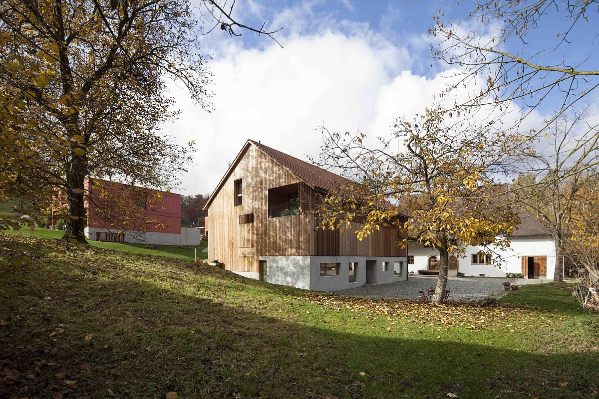 converted mill barn with tiled roof conceals modern apartments. Black Bedroom Furniture Sets. Home Design Ideas