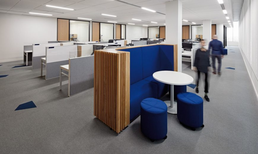 Inventive Oilers Entertainment Group Office Inspired by Ice Hockey Motifs