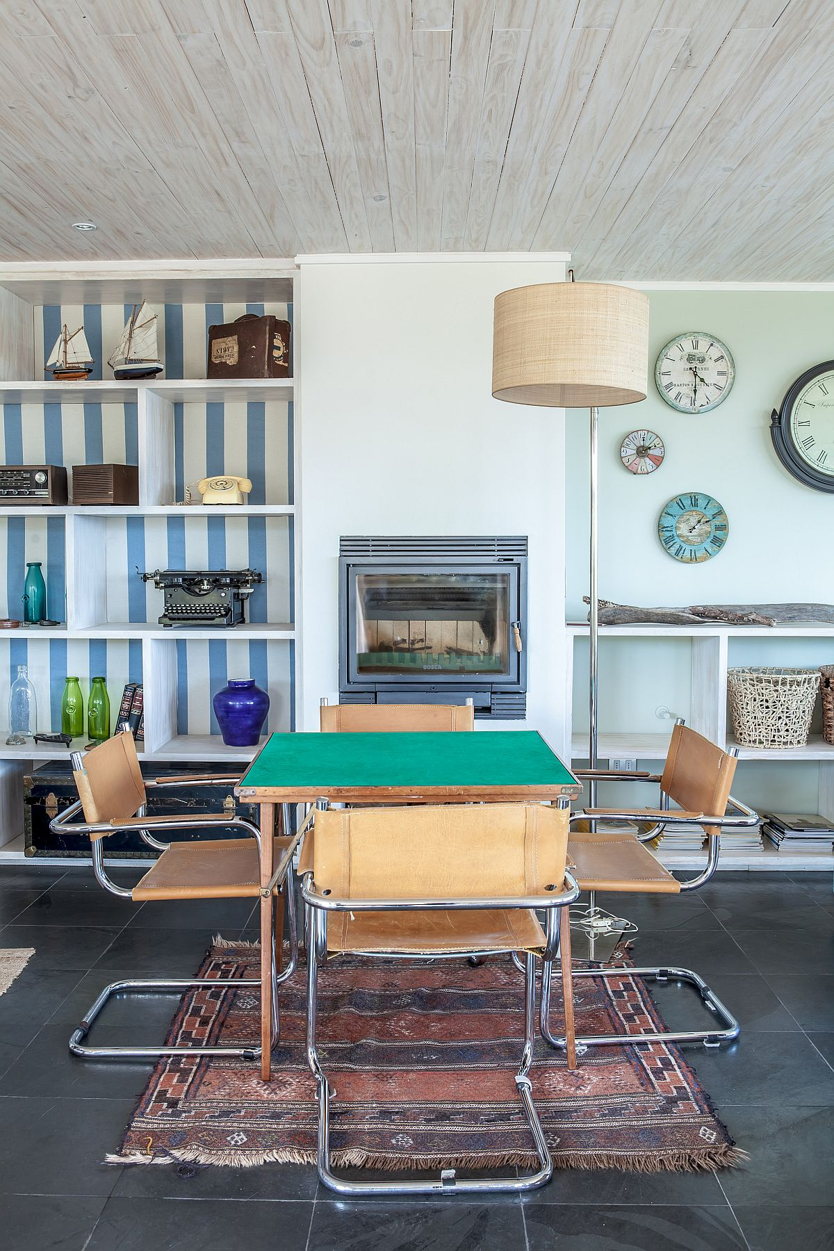 Coastal style interior of the contemporary home with pops of blue