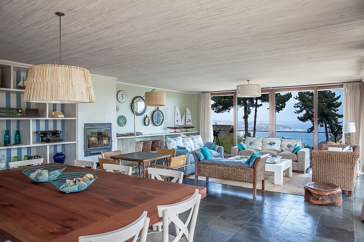 Coastal style living room with ocean views
