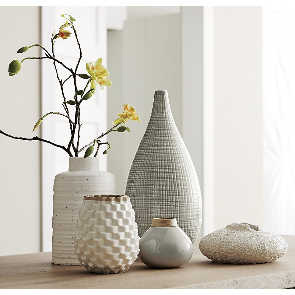Collection of white textural vases
