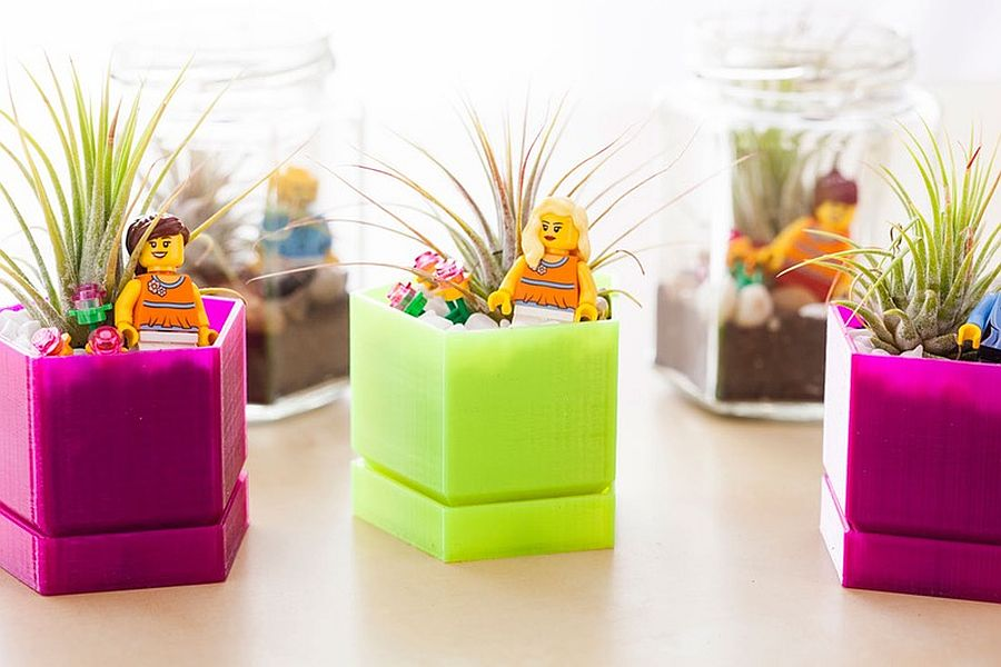 Colorful LEGO terrariums with air plants