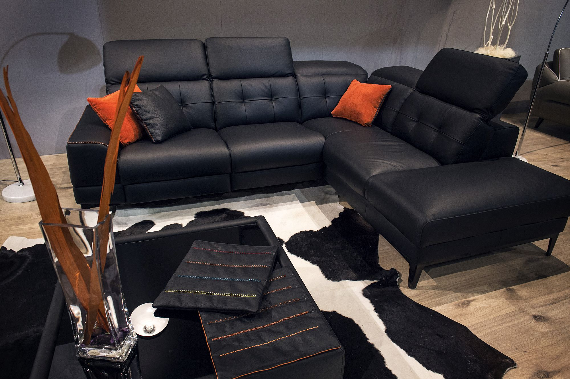 Combine orange and black with style in the living space!