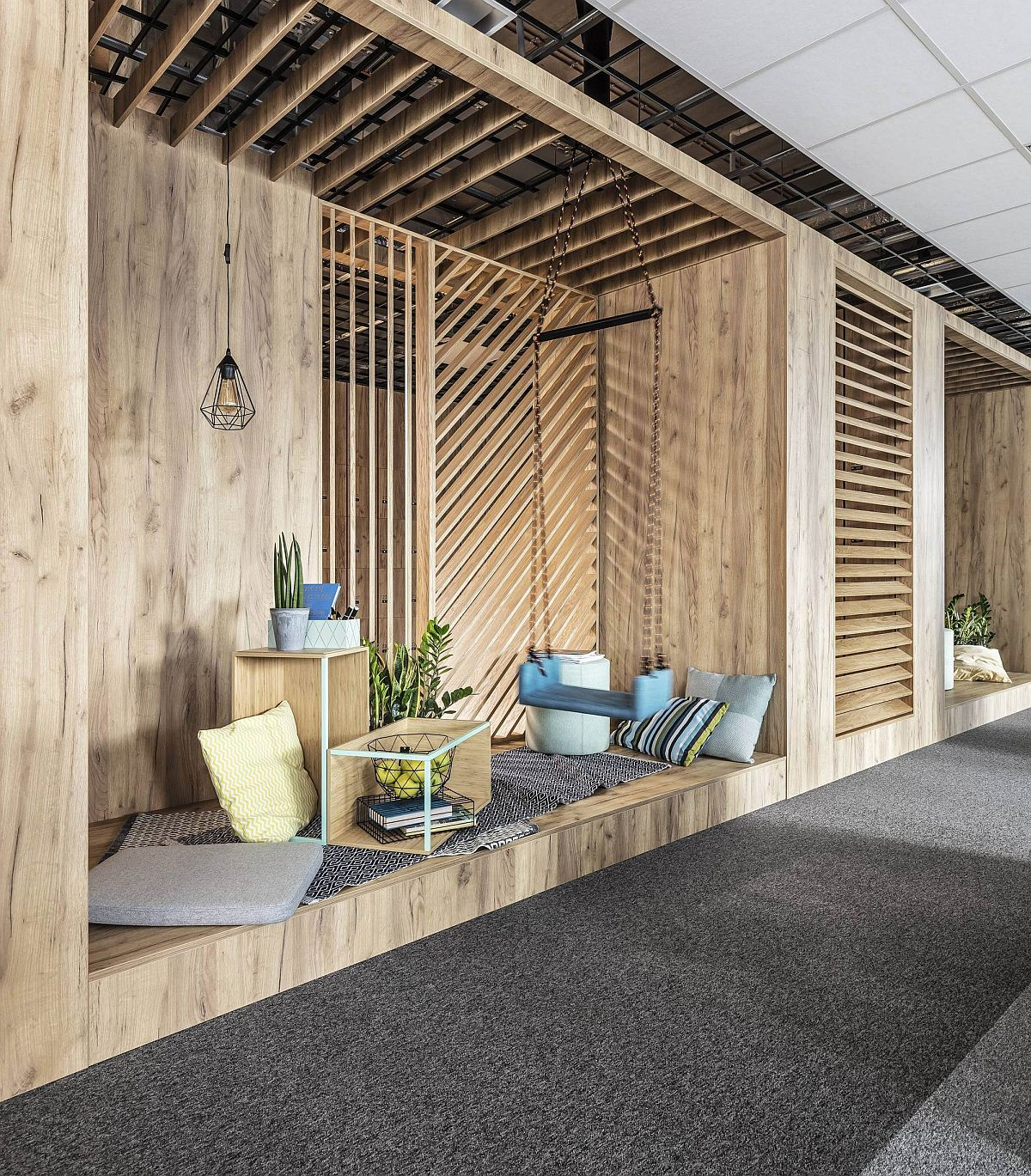 Comfy custom relaxation zone in wood for office space