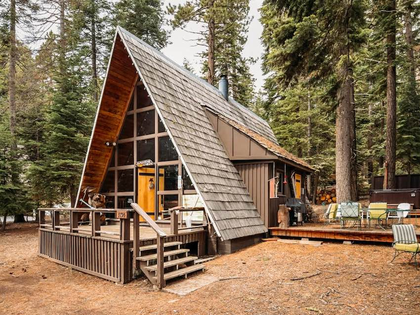 Contemporary wood cottage with an A-frame design