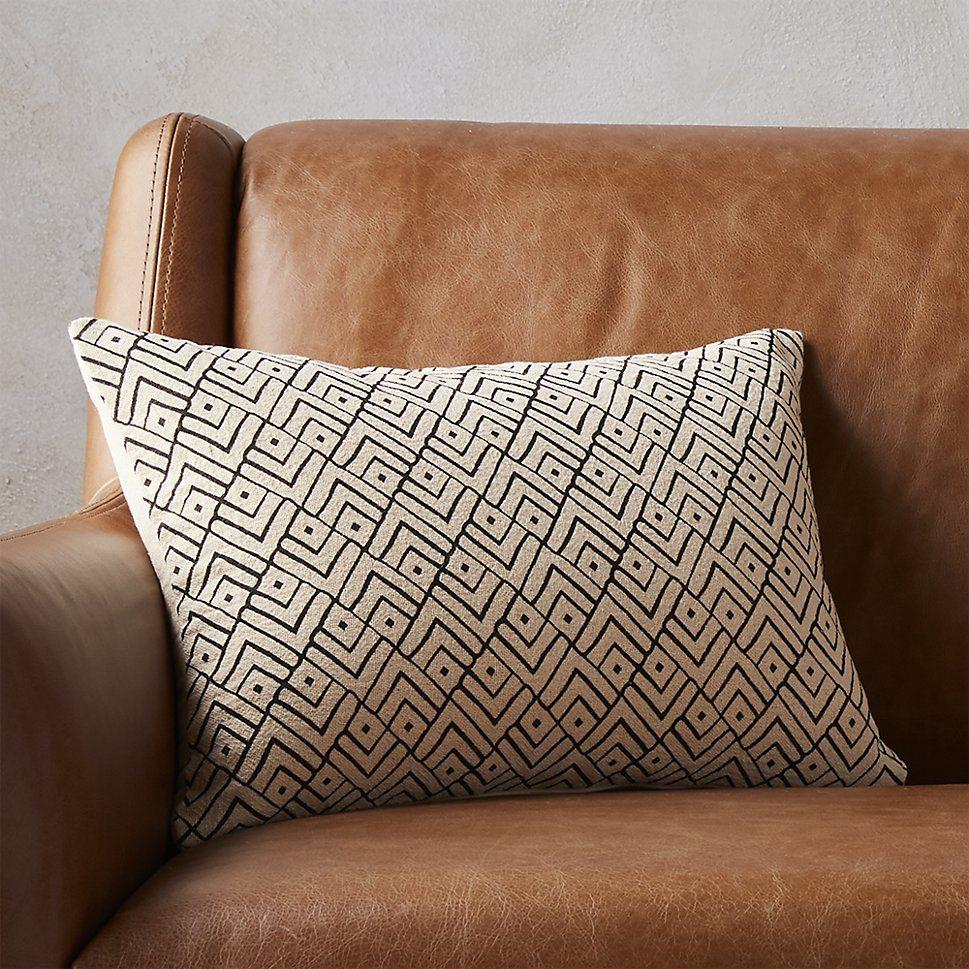 Cream and black lattice pillow