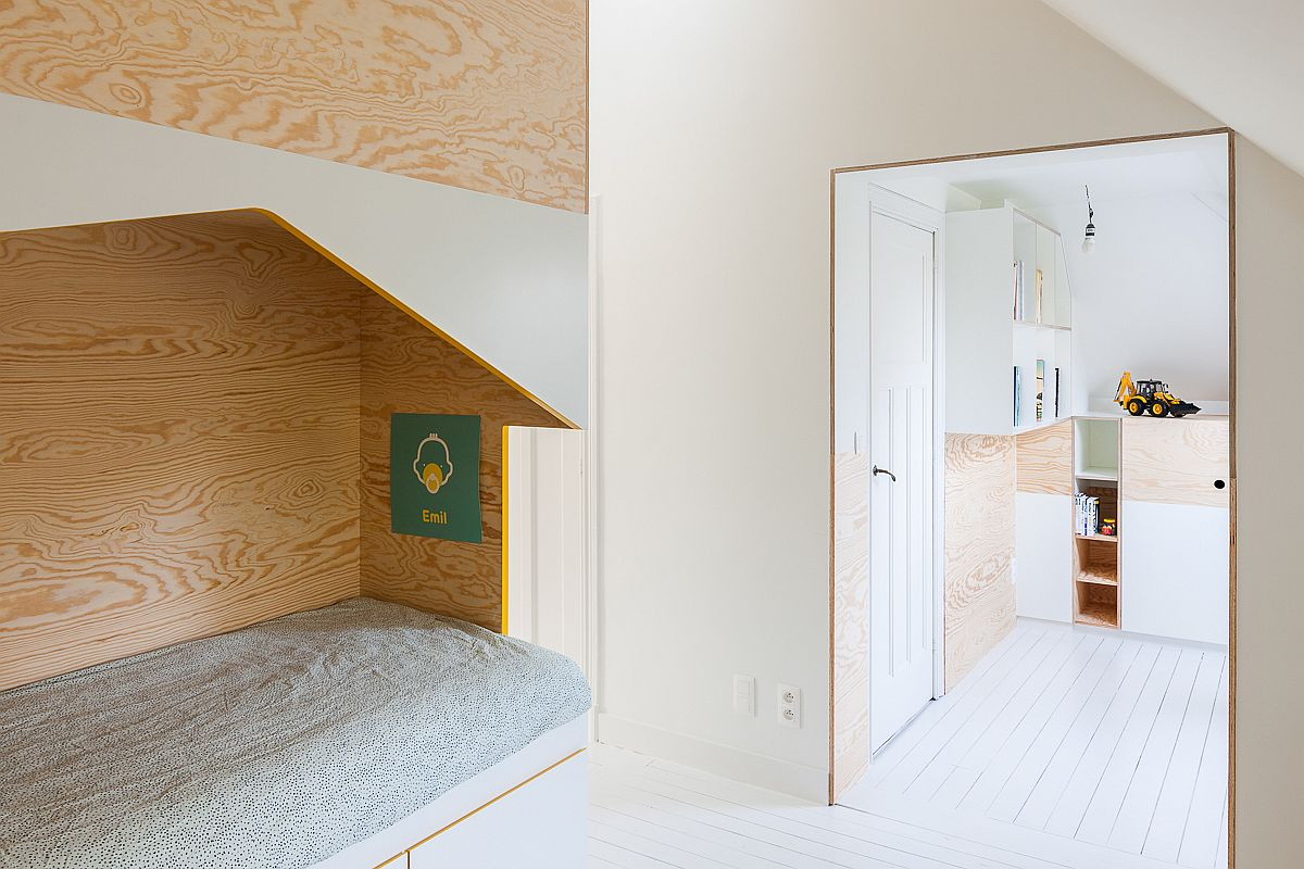 Entrance to the attic level kids' room with bespoke loft beds