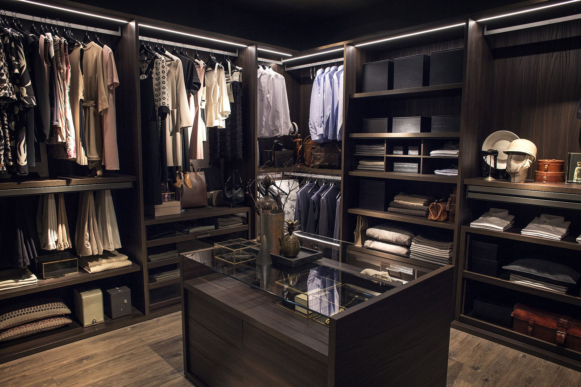 Expansive walk-in closet offers ample shelf space for your trendy wardrobe