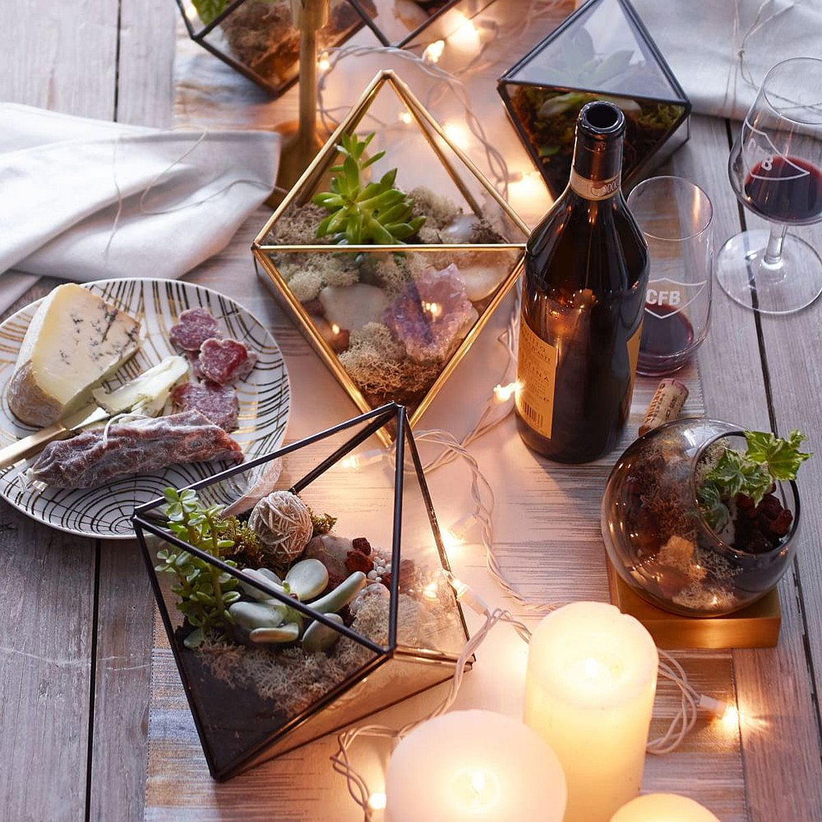 Faceted geo terrariums from West Elm