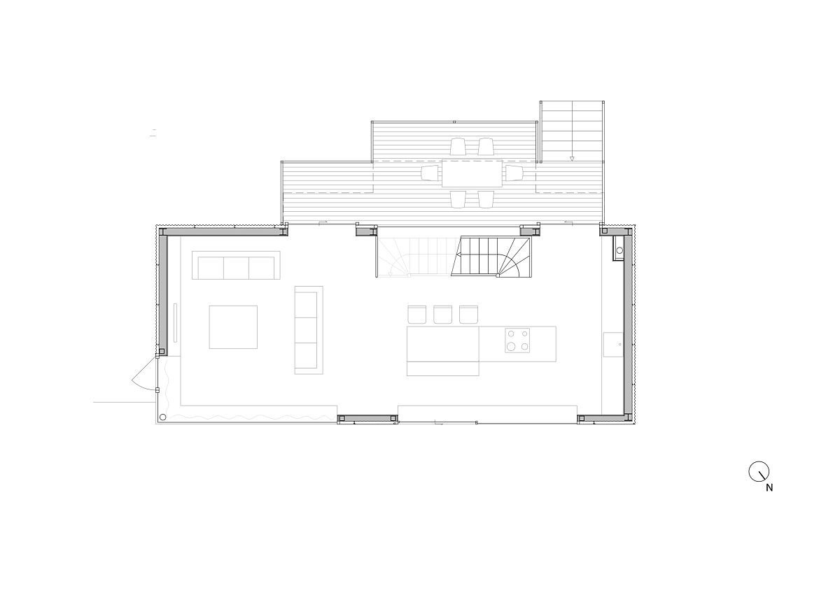 First floor plan with lving area and dining