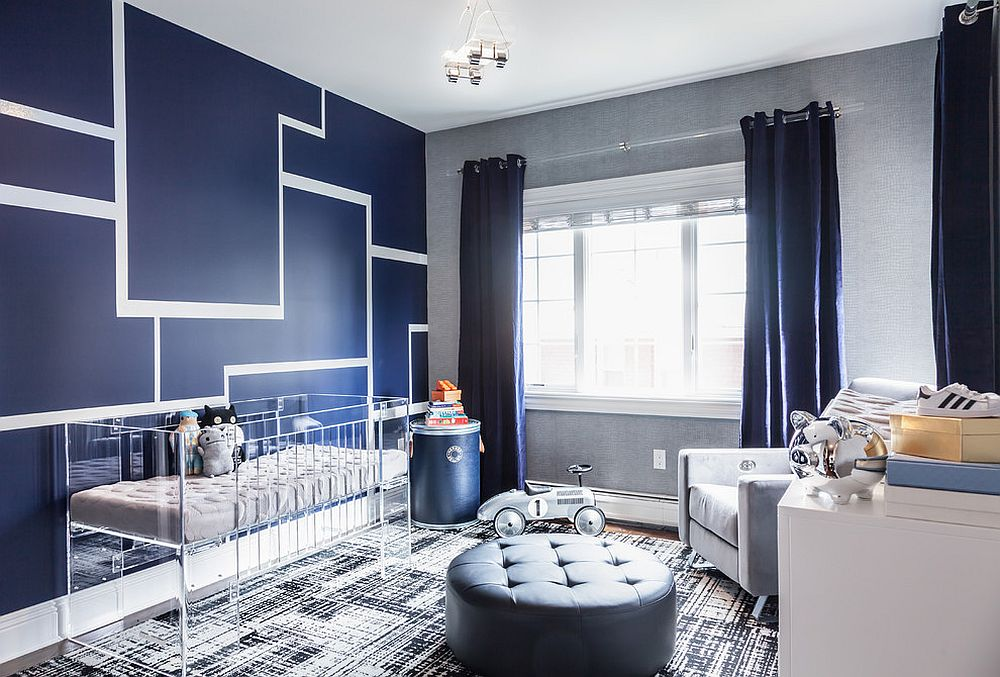 Gorgeous contemporary boys' nursery in striking blue