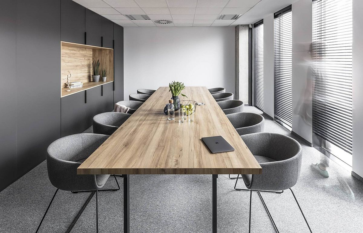 Gray and white meeting room deisgn