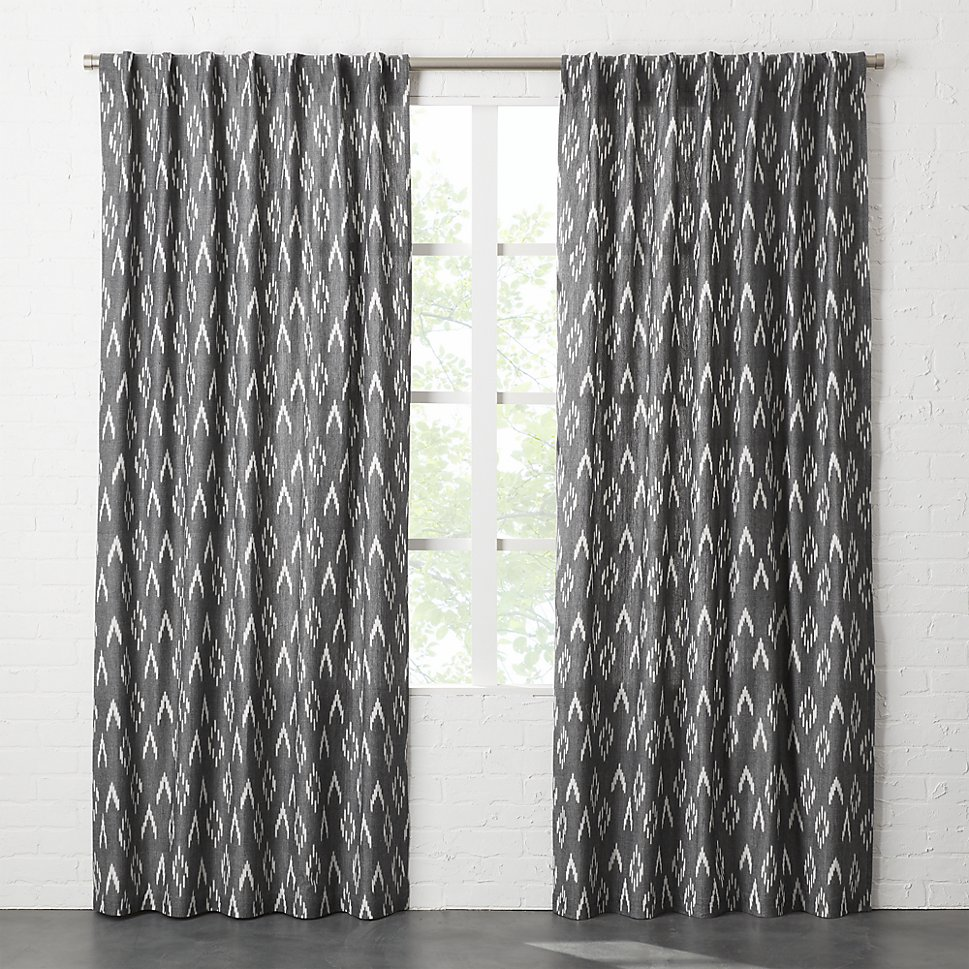 Ikat curtains in black and white