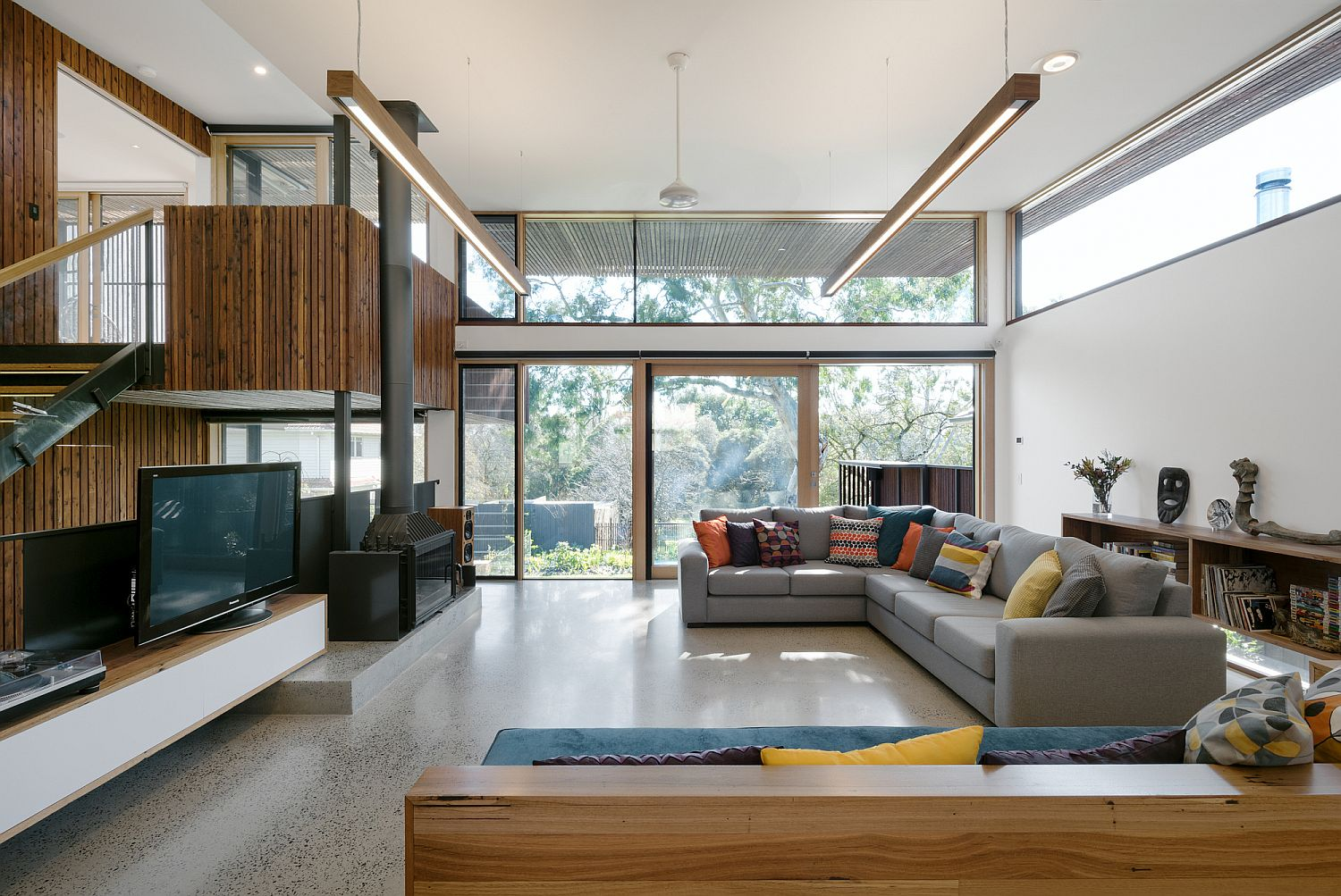 Light-filled split level interior of the Aussie home