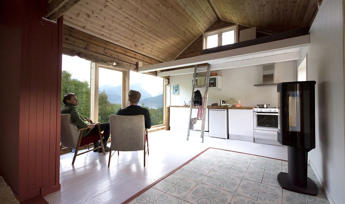 Look at the loft-style bedroom of the curated cabin