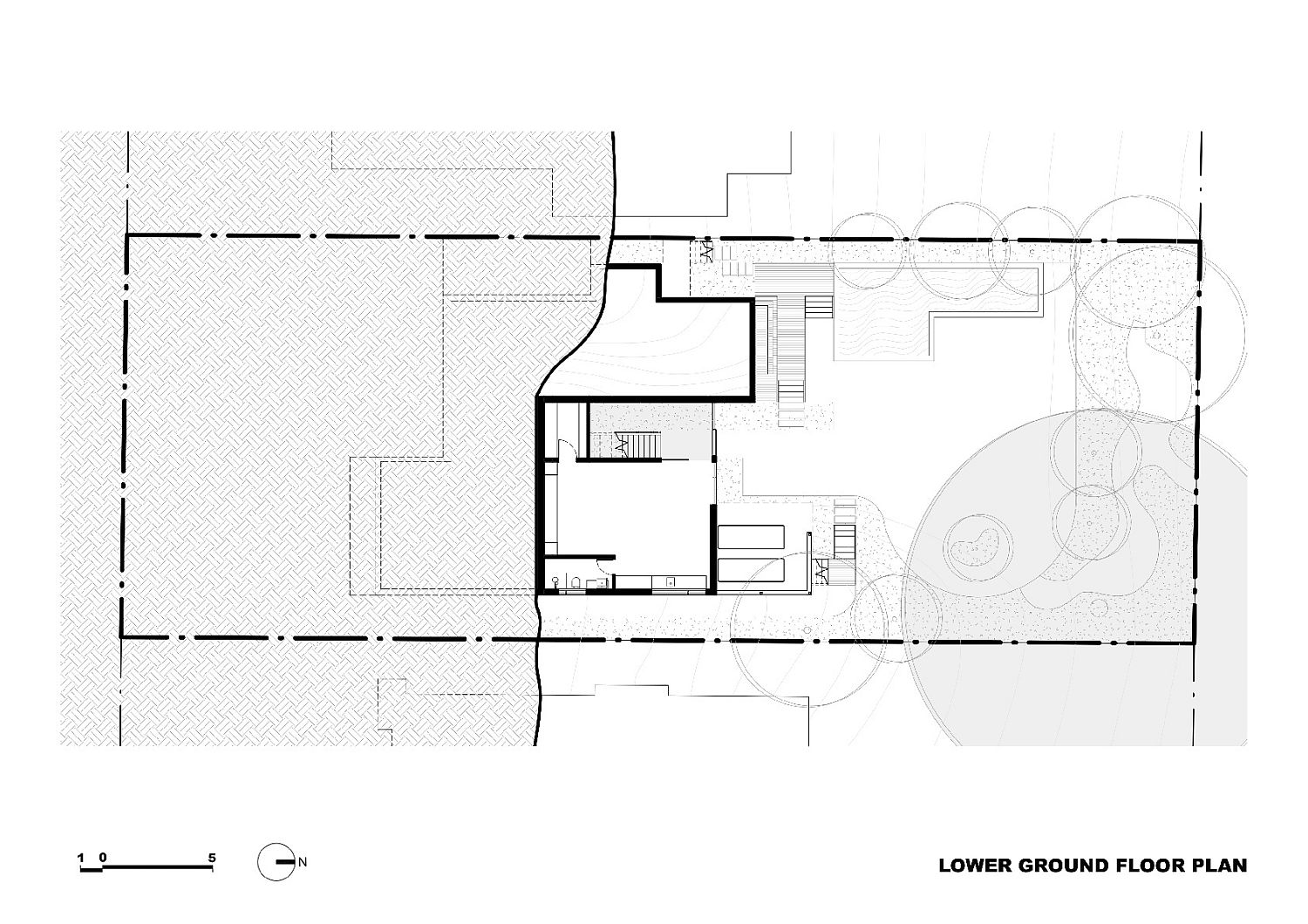 Lower ground floor plan of the Trail House