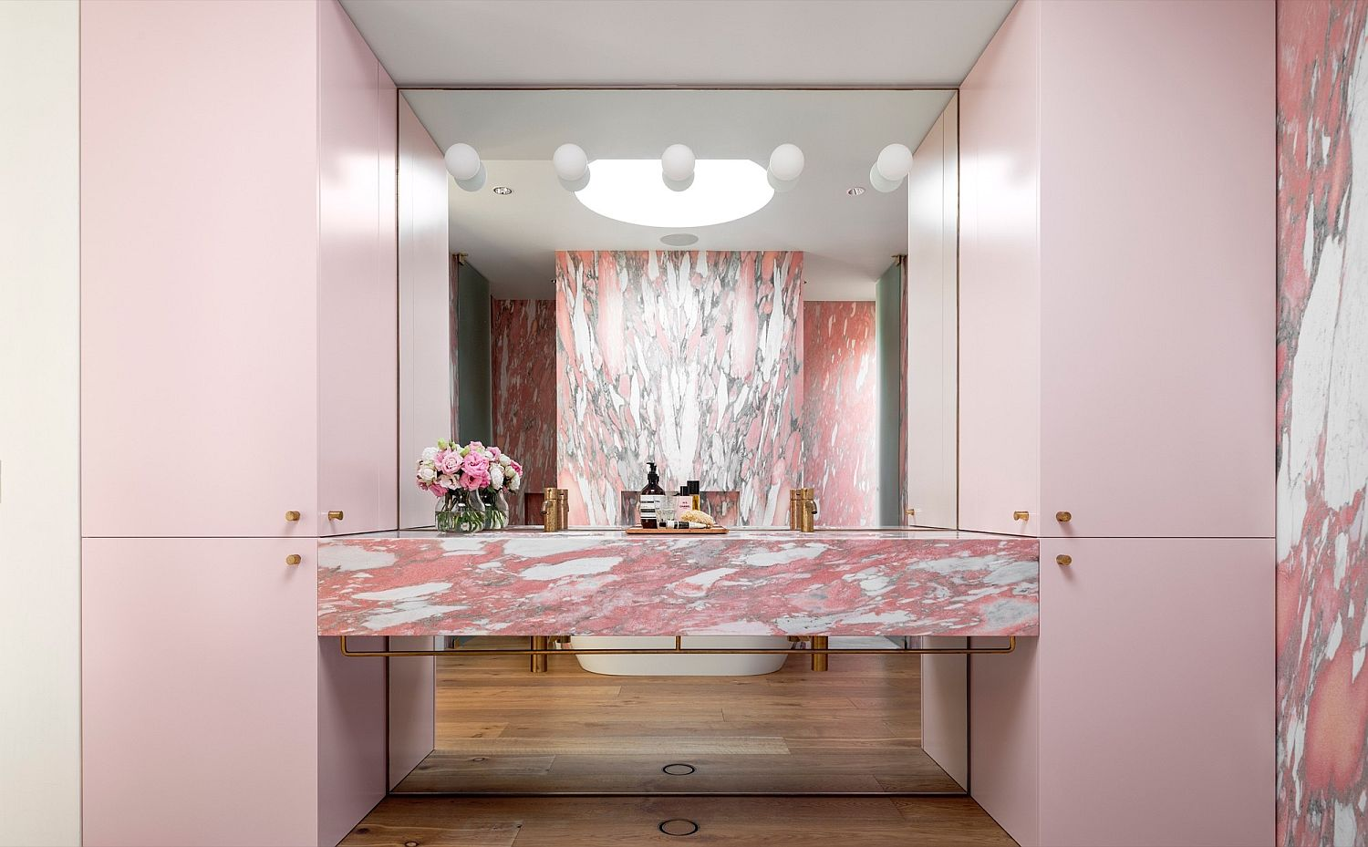 Master bathroom of the Bondi Beach house with a splash of pink
